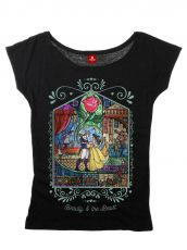 Beauty and the Beast Ladies T-Shirt Window Girl Size L