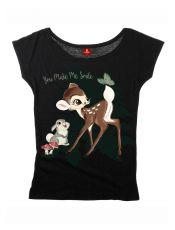 Bambi Ladies Loose T-Shirt Smile Size XL